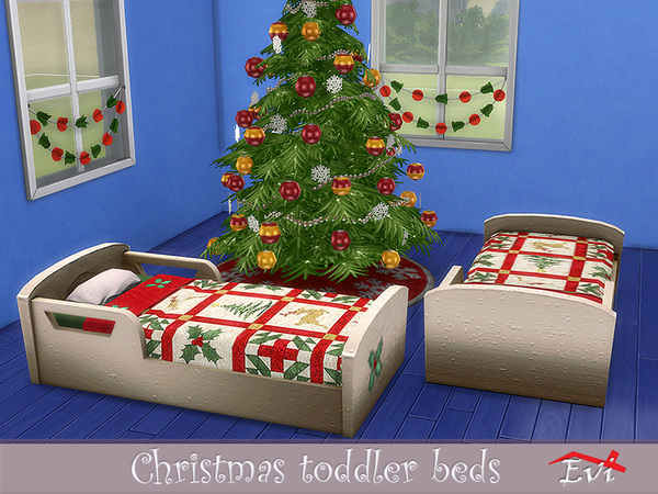 Sims 4 Christmas toddler beds by evi at TSR