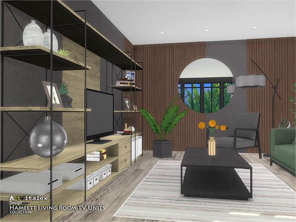 Sims 4 Hamlett Living Room TV Units by ArtVitalex at TSR