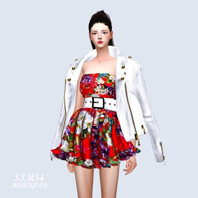 Sims 4 Big Belt Frill Dress at Marigold