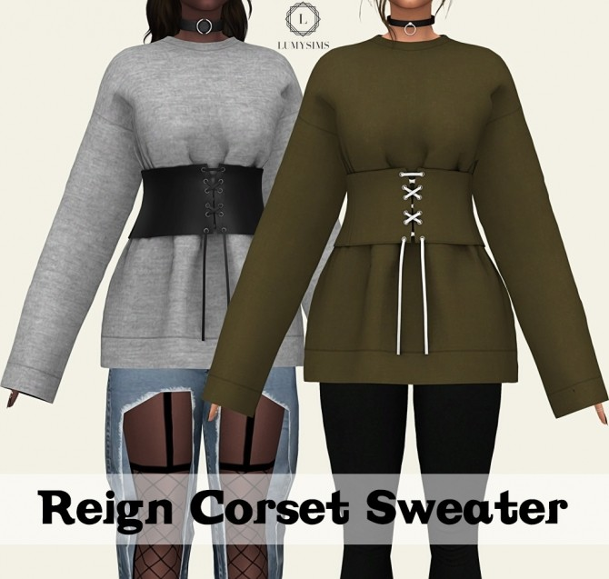 Sims 4 Reign Corset Sweater at Lumy Sims