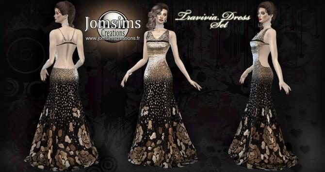 Travivia dress set at Jomsims Creations image 728 670x355 Sims 4 Updates
