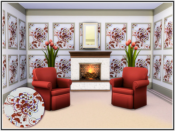 Sims 4 Shades of Brown Walls by marcorse at TSR