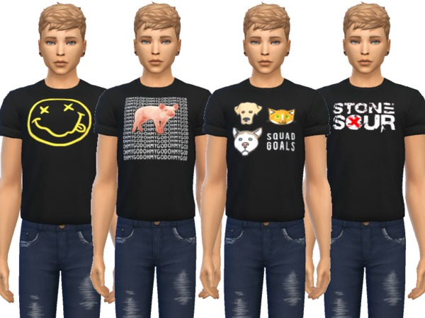 Sims 4 Snazzy Cuffed Tees by Wicked Kittie at TSR