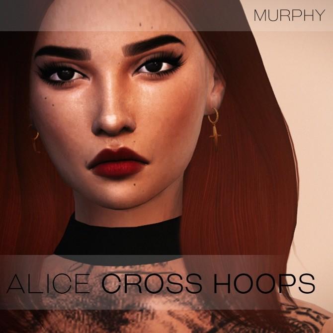 Sims 4 Alice Cross Hoops by Victoria Kelmann at MURPHY