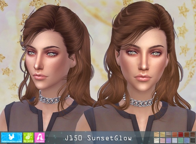 Sims 4 J150 SunsetGlow hair (P) at Newsea Sims 4