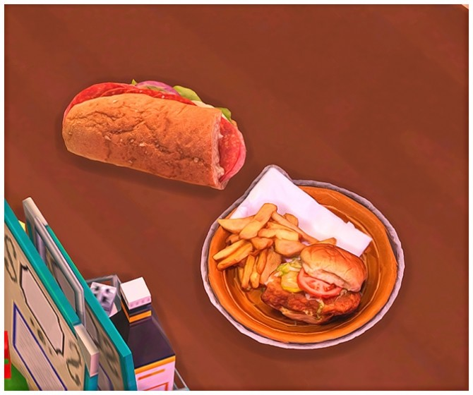 Sims 4 Chicken Sandwich Meal and Sub Sandwich at Josie Simblr