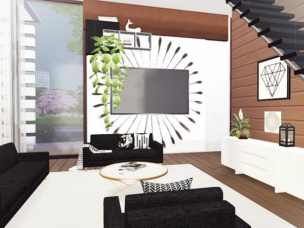 Sims 4 Freya contemporary house by Rirann at TSR