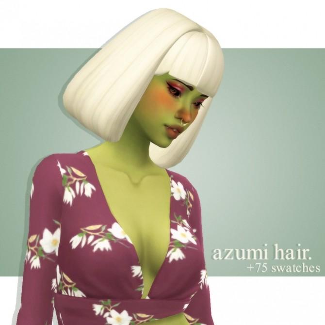 Sims 4 Artichuckles's azumi hair at cowplant pizza