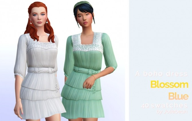 Sims 4 Blossom Blue boho dress at Joliebean