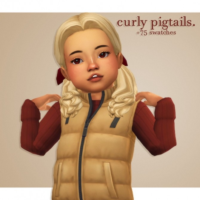 Sims 4 Naevys sims curly pigtails hair recolours at cowplant pizza