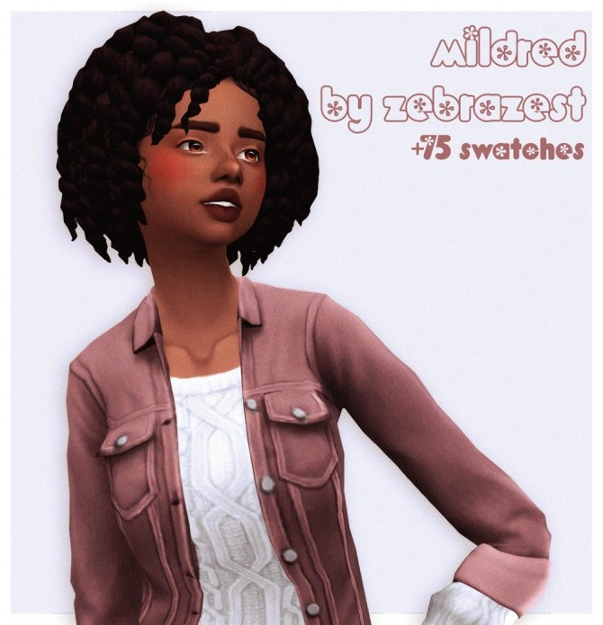 Zebrazest mildred hair recolors at cowplant pizza image 9714 670x695 Sims 4 Updates