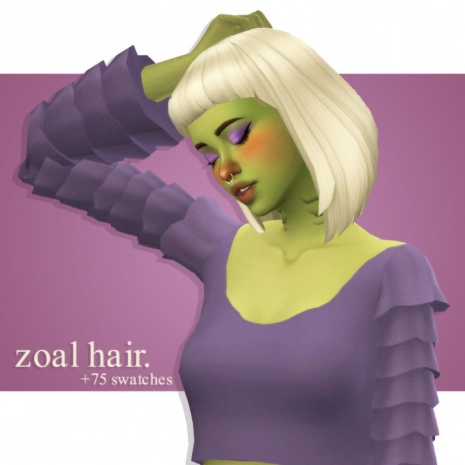 Sims 4 Habssims' zoal hair recolour at cowplant pizza