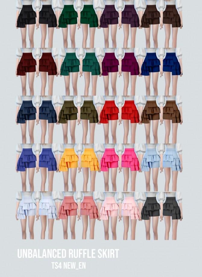 Sims 4 Unbalanced Ruffle Skirt at NEWEN