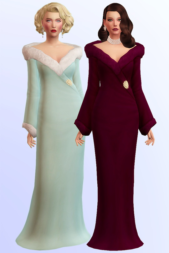 Sims 4 Diva long gown with fur at Joliebean