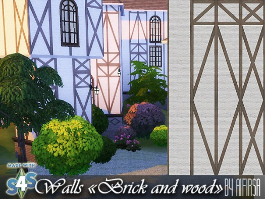 Sims 4 Brick and wood walls at Aifirsa