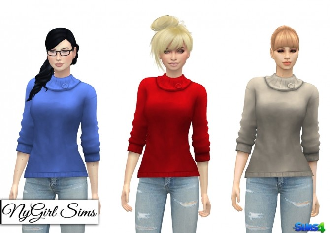 Sims 4 Collared Sweater with Button at NyGirl Sims