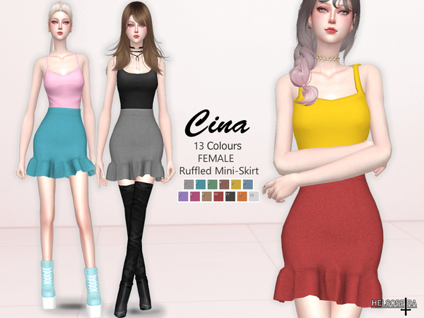 CINA Ruffled Mini Skirt by Helsoseira at TSR image 102 Sims 4 Updates