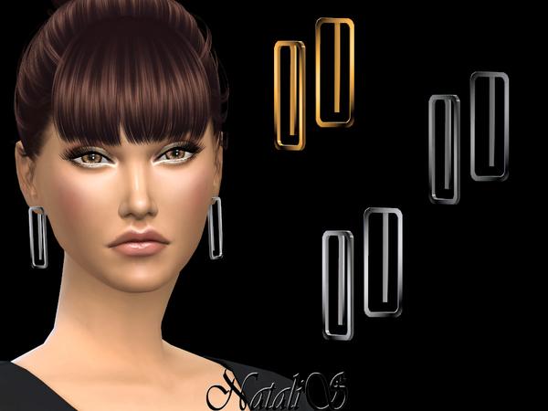 Sims 4 Minimalist geometric earrings by NataliS at TSR