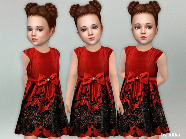 Red Bow Toddler Dress by lillka at TSR image 104 Sims 4 Updates