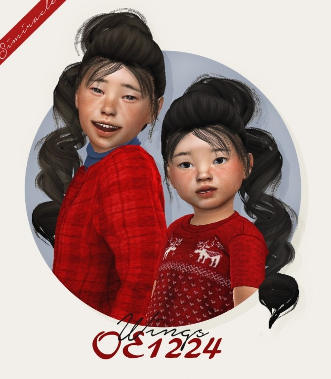 Sims 4 Wings OE1224 hair for kids and toddlers at Simiracle