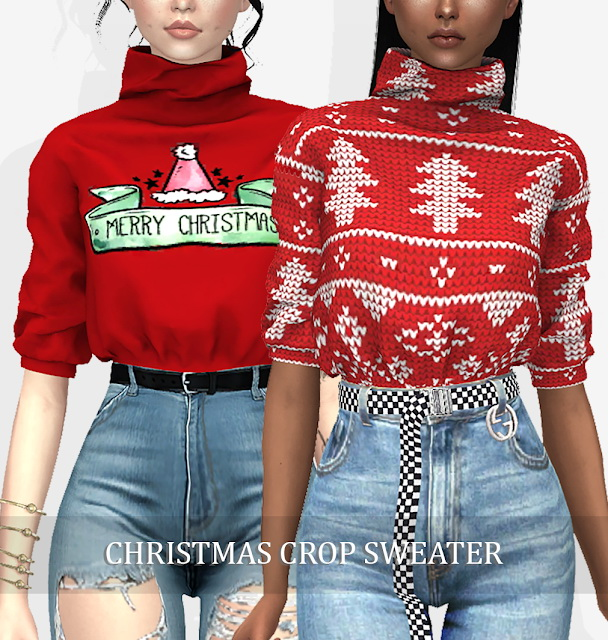 CHRISTMAS CROP SWEATER (P) at Grafity cc image 10613 Sims 4 Updates