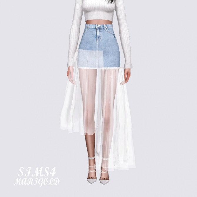 Sims 4 Mesh Denim Long Skirt at Marigold