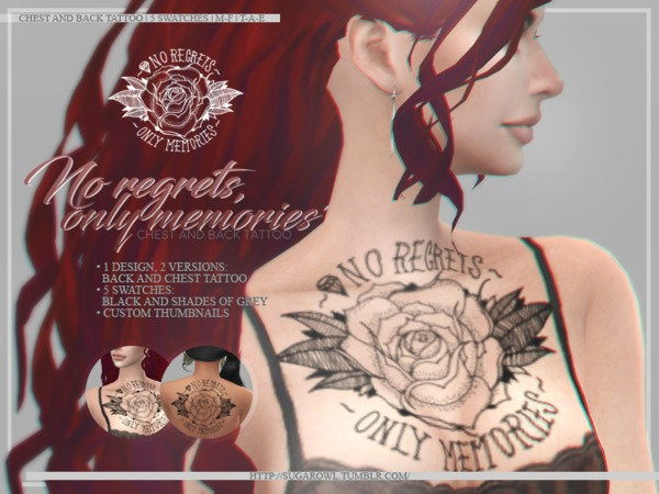 No regrets, only memories tattoos by sugar owl at TSR image 1105 Sims 4 Updates