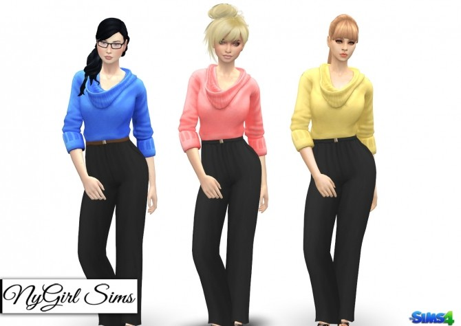Sims 4 Belted Sweater Jumpsuit at NyGirl Sims