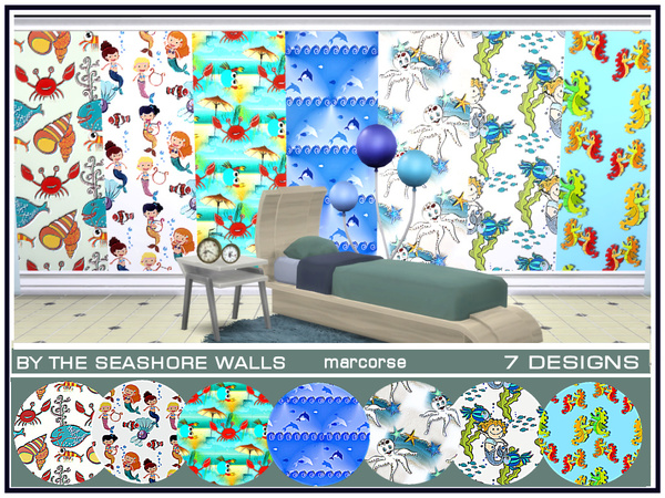 Sims 4 By the Seashore Walls by marcorse at TSR