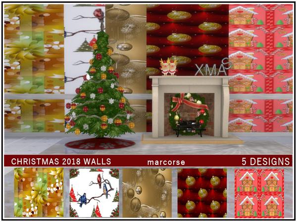 Sims 4 Christmas 2018 Walls by marcorse at TSR