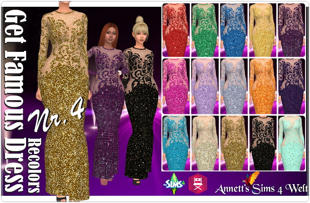 Get Famous Dress Nr. 4 Recolors at Annett's Sims 4 Welt image 1203 Sims 4 Updates