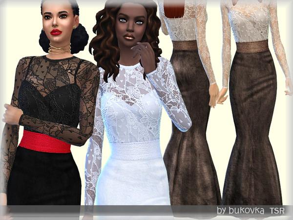 Sims 4 Dress Lace & Velvet by bukovka at TSR