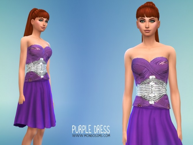 Sims 4 Purple dress by Simone at Mondo Sims