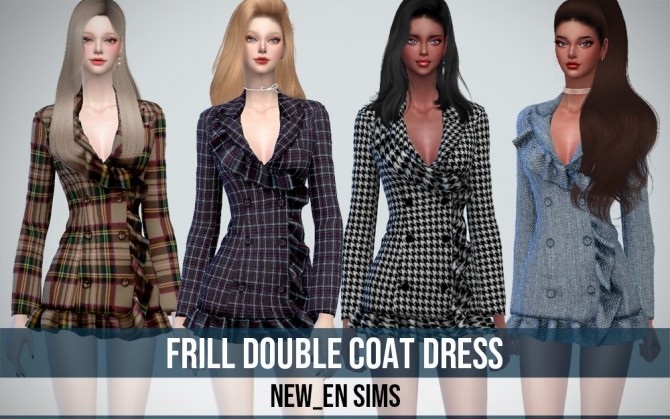 Frill Double Coat Dress at NEWEN image 12118 670x419 Sims 4 Updates