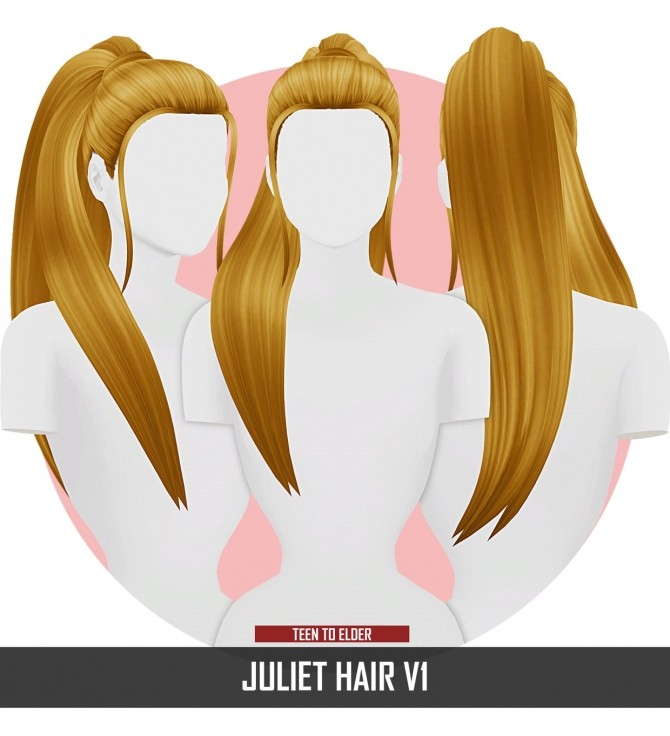 Sims 4 JULIET HAIR by Thiago Mitchell at REDHEADSIMS