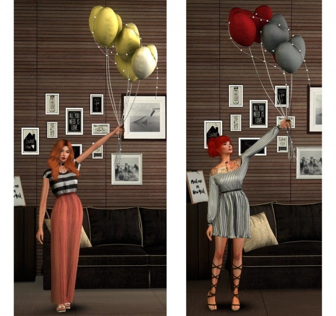Sims 4 Pose Pack with Balloons at Astya96