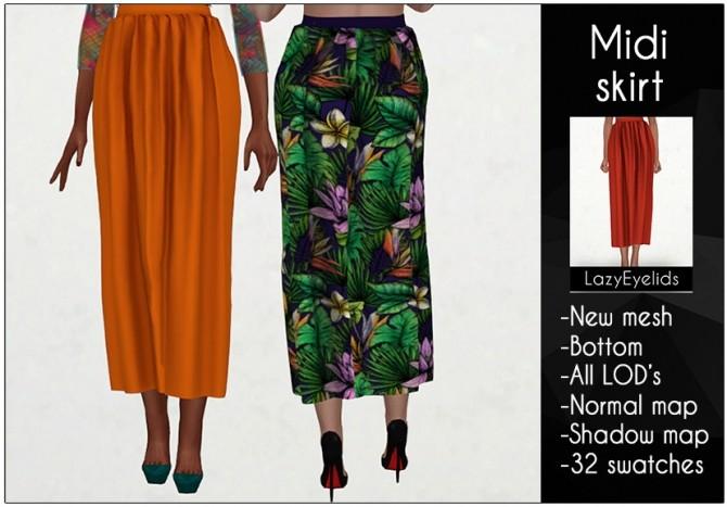 Midi skirt at LazyEyelids image 12813 670x467 Sims 4 Updates