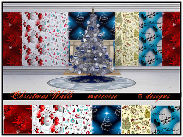 Sims 4 Christmas Walls by marcorse at TSR