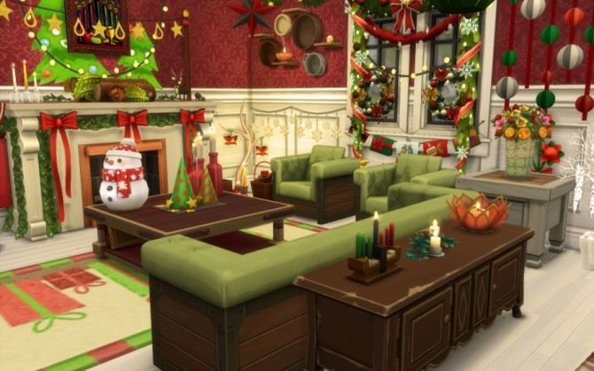 Sims 4 Christmas Red room by Bloup at Sims Artists