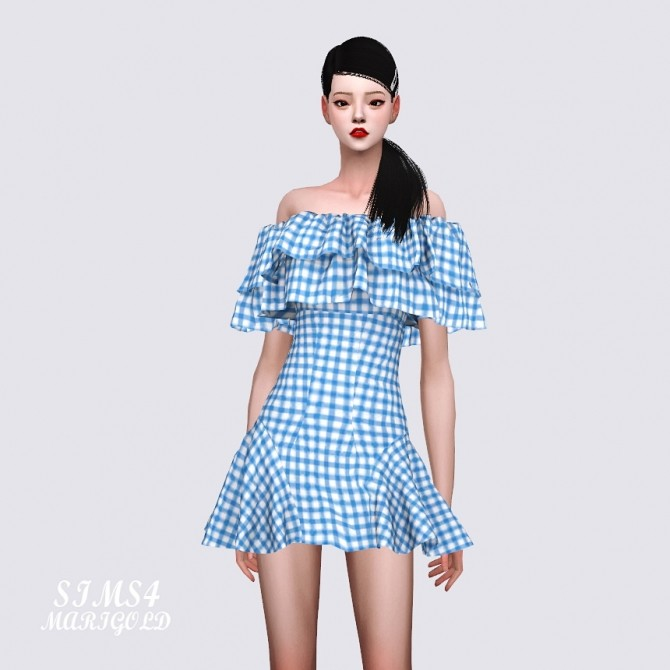 Sims 4 Lovely Off Shoulder Ruffle Dress at Marigold