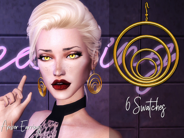 Sims 4 Amber Earrings by Genius666 at TSR