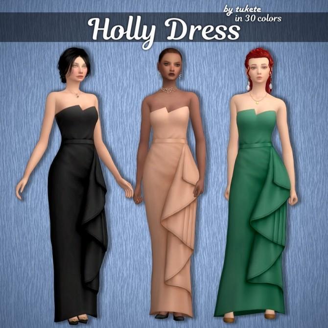 Sims 4 EP06 Holly Dress at Tukete