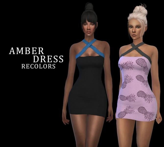 Sims 4 Amber Dress recolors at Leo Sims