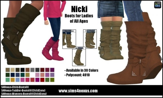 Sims 4 Nicki boots F all ages by SamanthaGump at Sims 4 Nexus