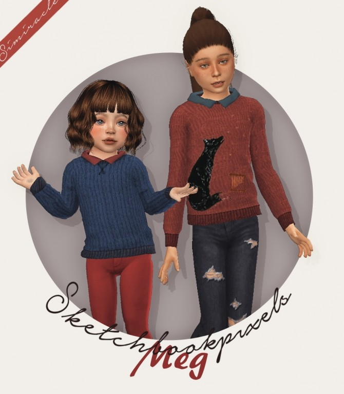 Sims 4 Sketchbookpixels Meg 3T4 collared sweater for kids & toddlers at Simiracle