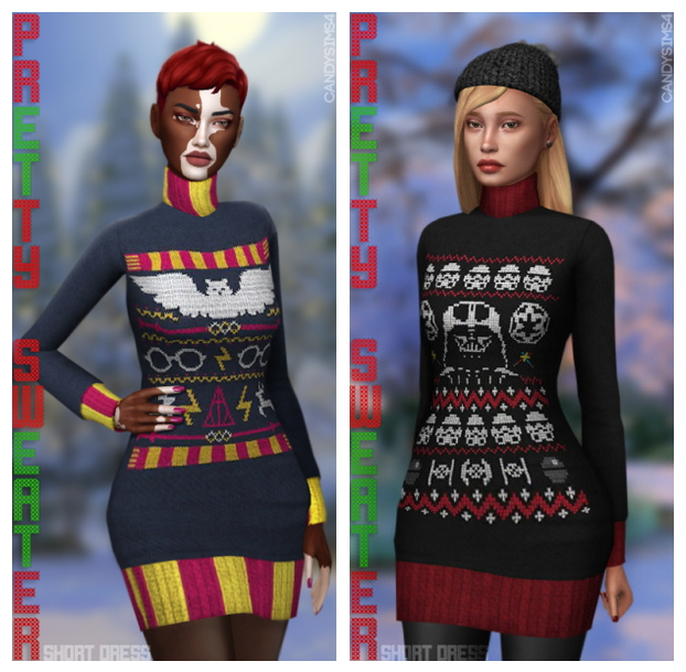 PRETTY SWEATER SHORT DRESS at Candy Sims 4 image 1467 Sims 4 Updates