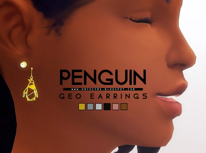 Sims 4 Geometric Penguin Earrings at Onyx Sims