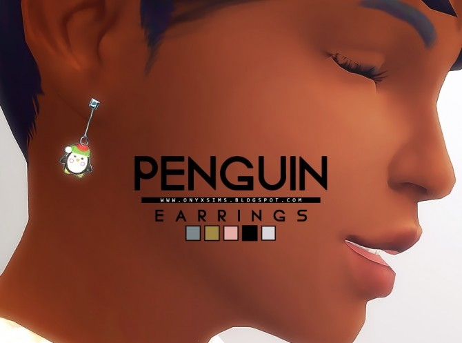 Sims 4 Christmas Penguin Earrings at Onyx Sims