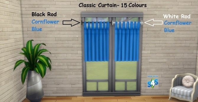 Sims 4 Classic Curtain Set 15 Colours by wendy35pearly at Mod The Sims