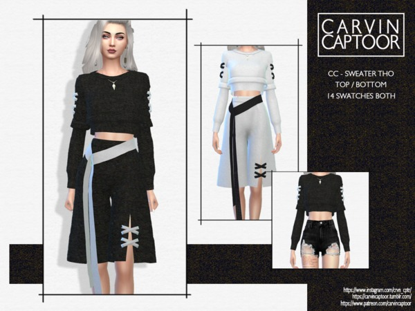 Sims 4 Sweater Tho (bottom) by carvin captoor at TSR